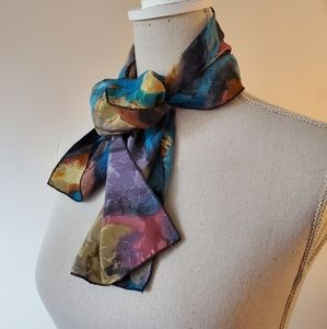 Vintage abstract watercolor 80's scarf